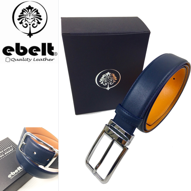ebelt 男裝高級頭層牛皮皮帶 (海軍藍)Top Grade Cow Full Grain Leather Belt (Navy) 3.4cm - ebm0155B