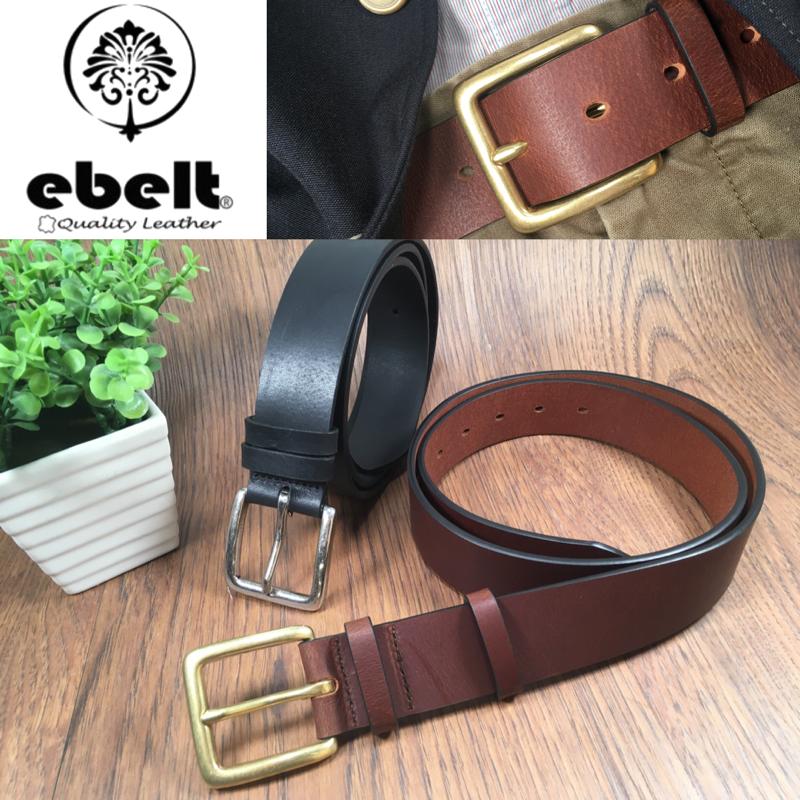 ebelt 銅扣頭層牛皮皮帶 Solid Brass Buckle Full Grain Cow Leather Belt 3.7cm - ebc0300