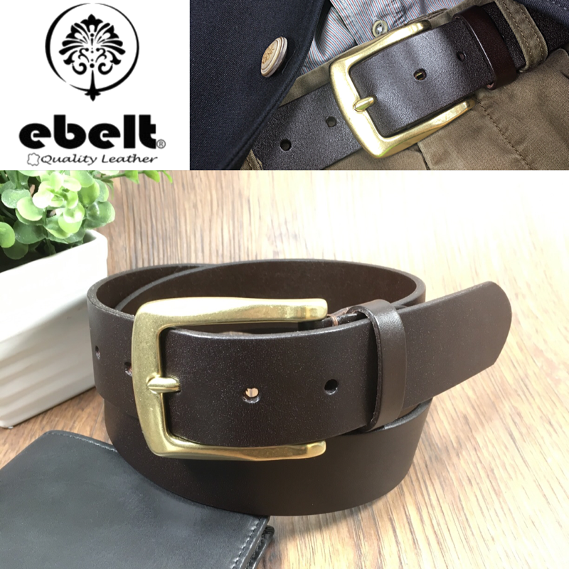 ebelt 銅扣頭層意大利牛皮皮帶 Solid Brass Buckle Full Grain Italian Cow Leather Belt 3.7cm - ebc0324