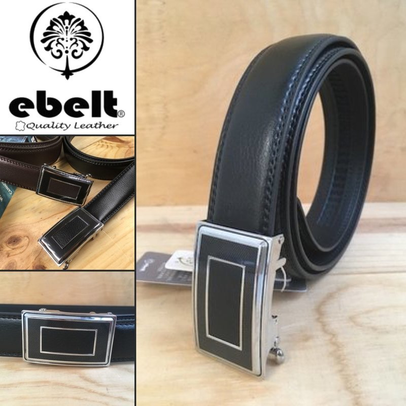 ebelt 自動扣牛皮皮帶 autolocked buckle leather belt 3.2cm - ebm0133