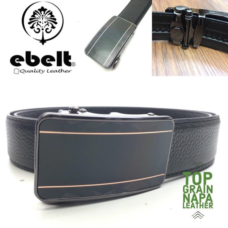 ebelt 自動扣頭層牛皮皮帶 Autolocked buckle Napa leather belt 3.4cm - ebm0158A