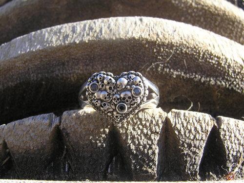 Spartan Heart ring w/ Black Diamonds