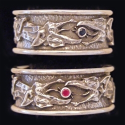Dragon head ring with rubies
