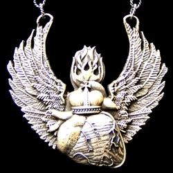 SACRED BEATING HEART WITH WINGS PENDANT