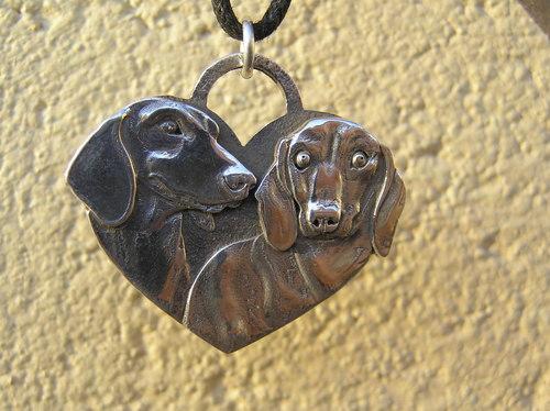 Dachshund Heart sterling silver pendant