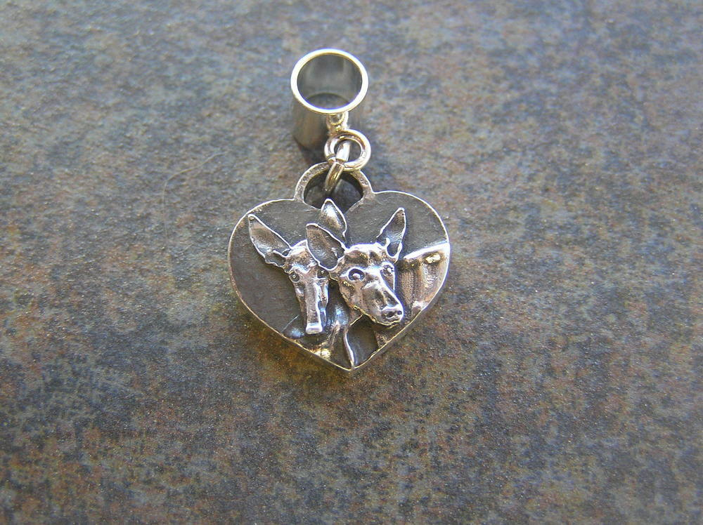 Podenco Heart Sterling SILVER Charm #2