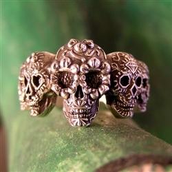 Sugar skull ring multi