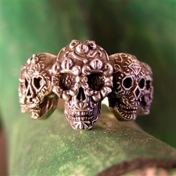 Sugar skull ring multi