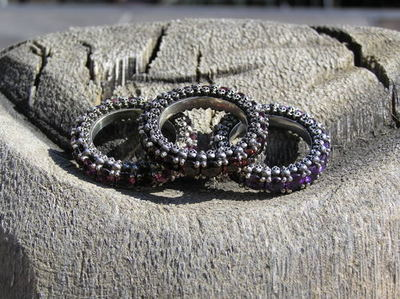 Skullternity Band ring with Amethyst