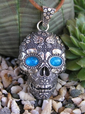 Sugar Skull pendant Apatite gemstone eyes