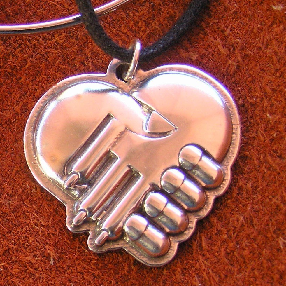 Rescued modern Hand & Paw sterling silver pendant