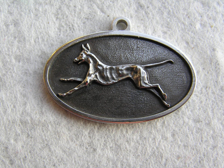 Podenco running sterling silver pendant