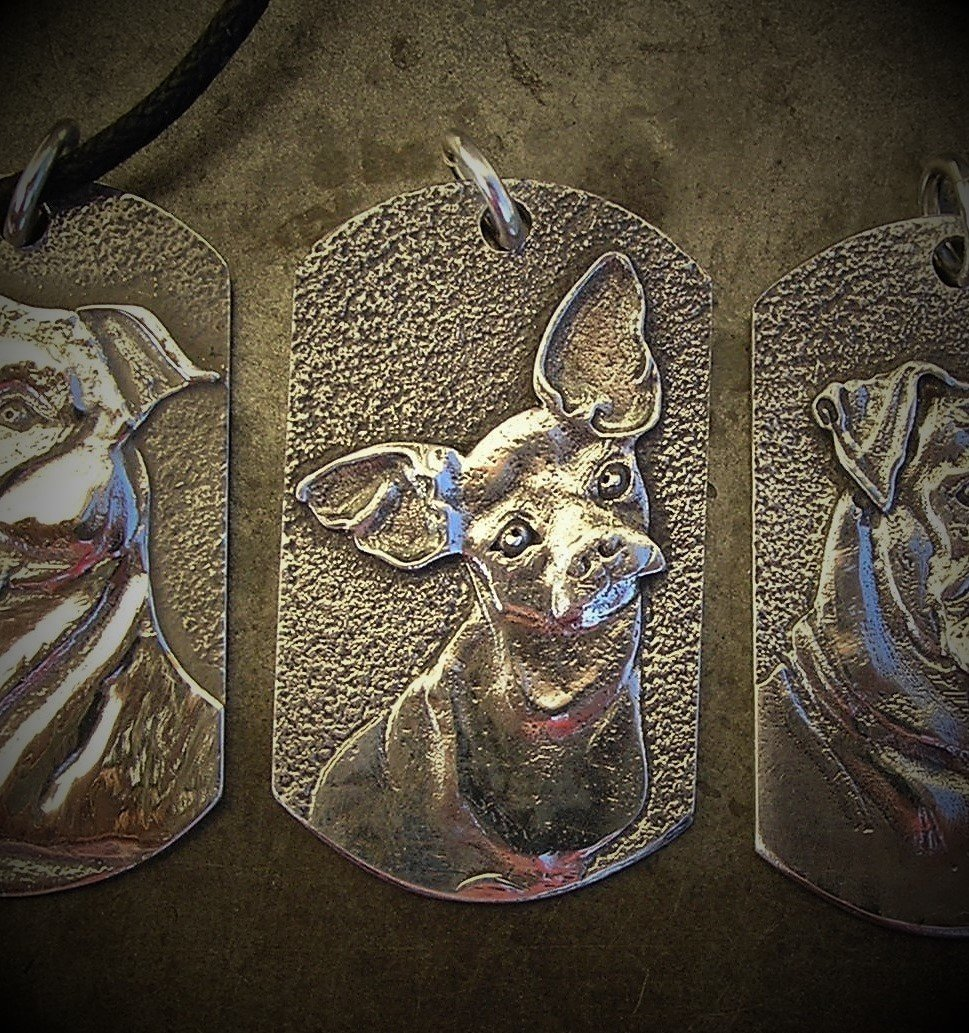 Chihuahua Tag shaped sterling silver pendant