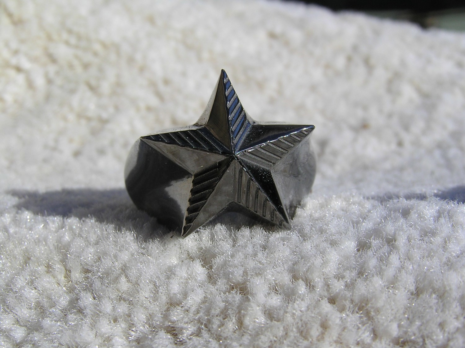 Black Nautical star ring