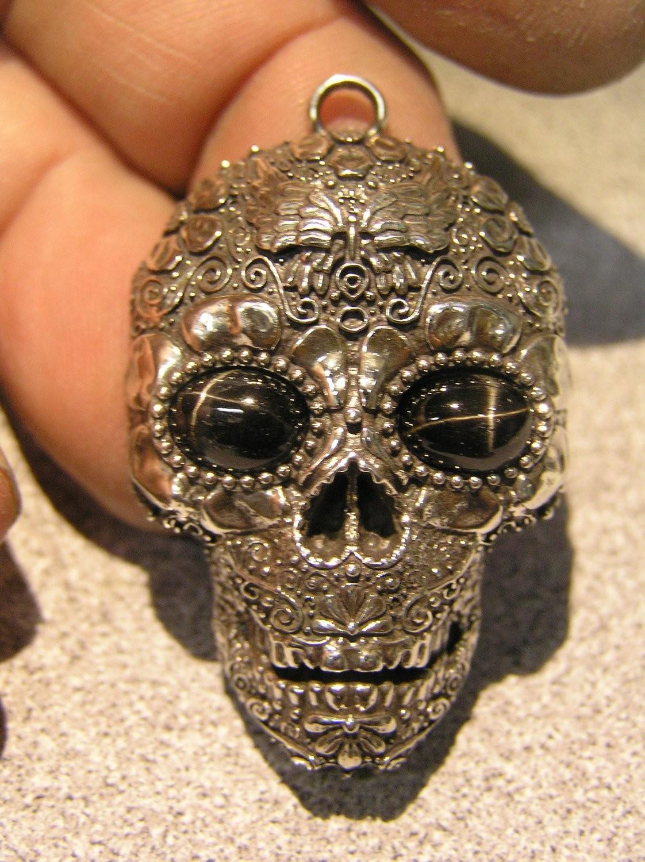 Sugar Skull pendant  black star  gemstone eyes