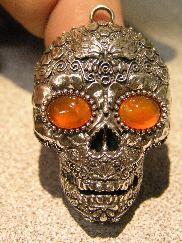 Sugar Skull pendant Fire Opal