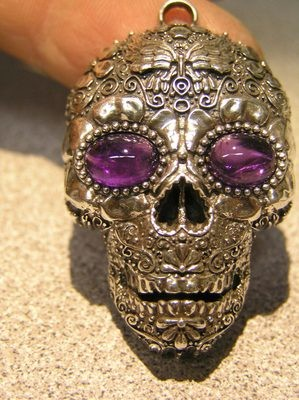 Sugar Skull pendant Amethyst gemstone eyes