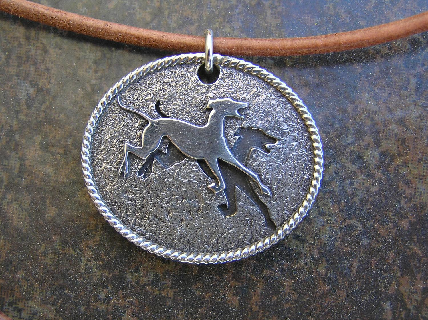 Birmingham Greyhound Protection UK NO initials sterling silver pendant