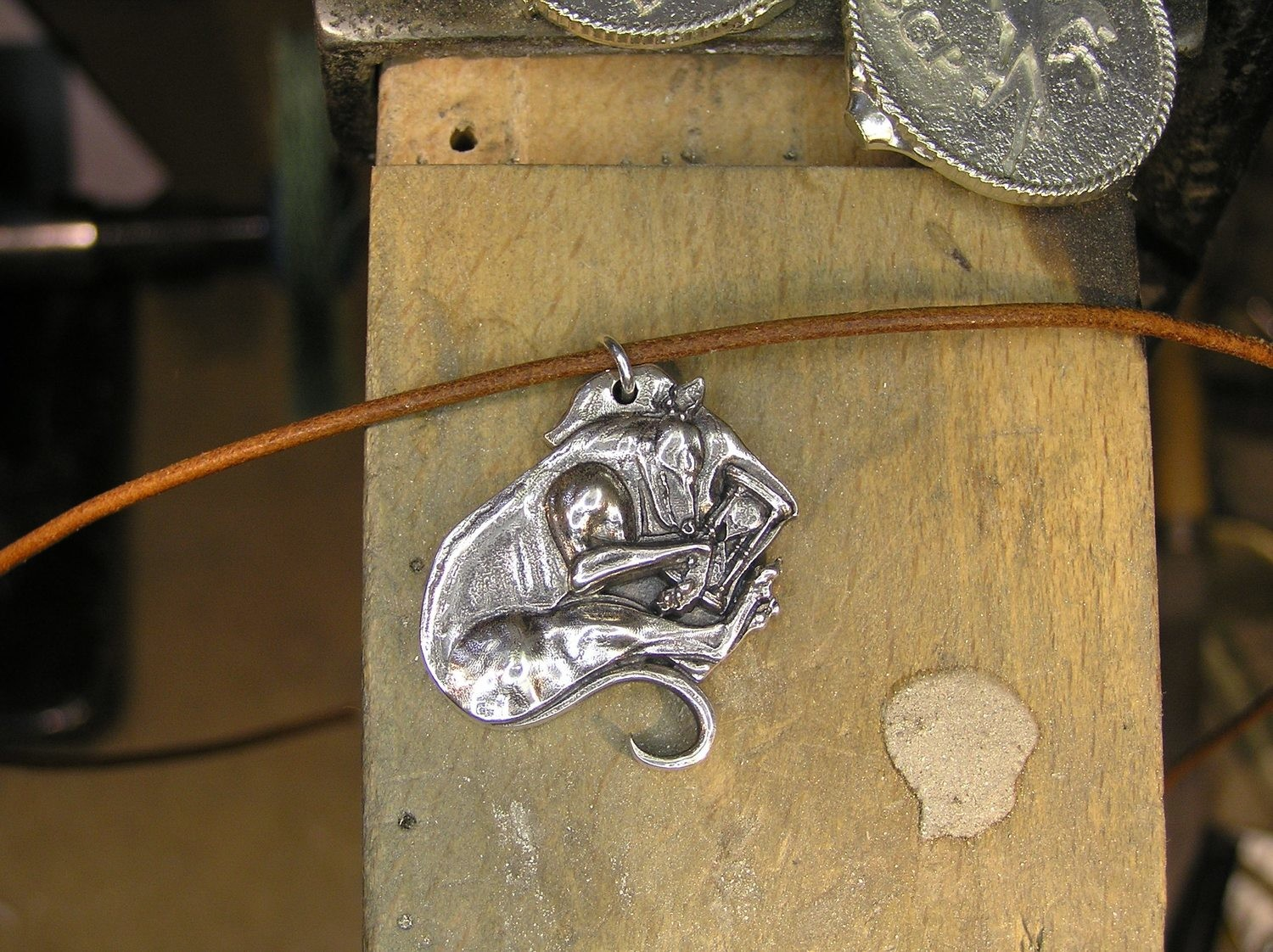 Old Hound sterling silver pendant