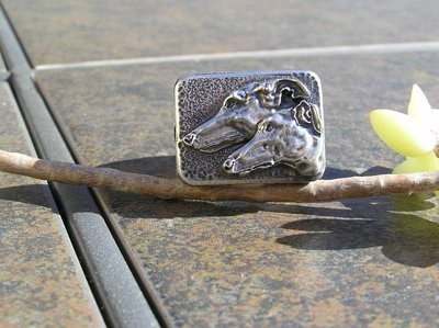Greyhound and Galgo sterling silver ring