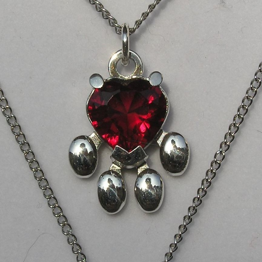 Paw Pendant Sterling Silver Red Heart Large