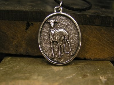Sight Hound sterling silver pendant 2