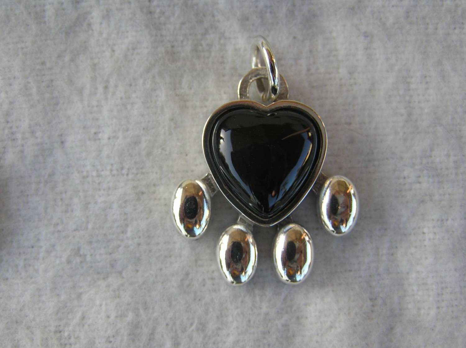 Paw Pendant Sterling Silver onyx heart large