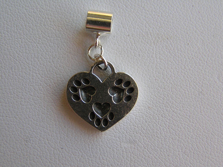 TriPaw Heart Sterling SILVER Charm
