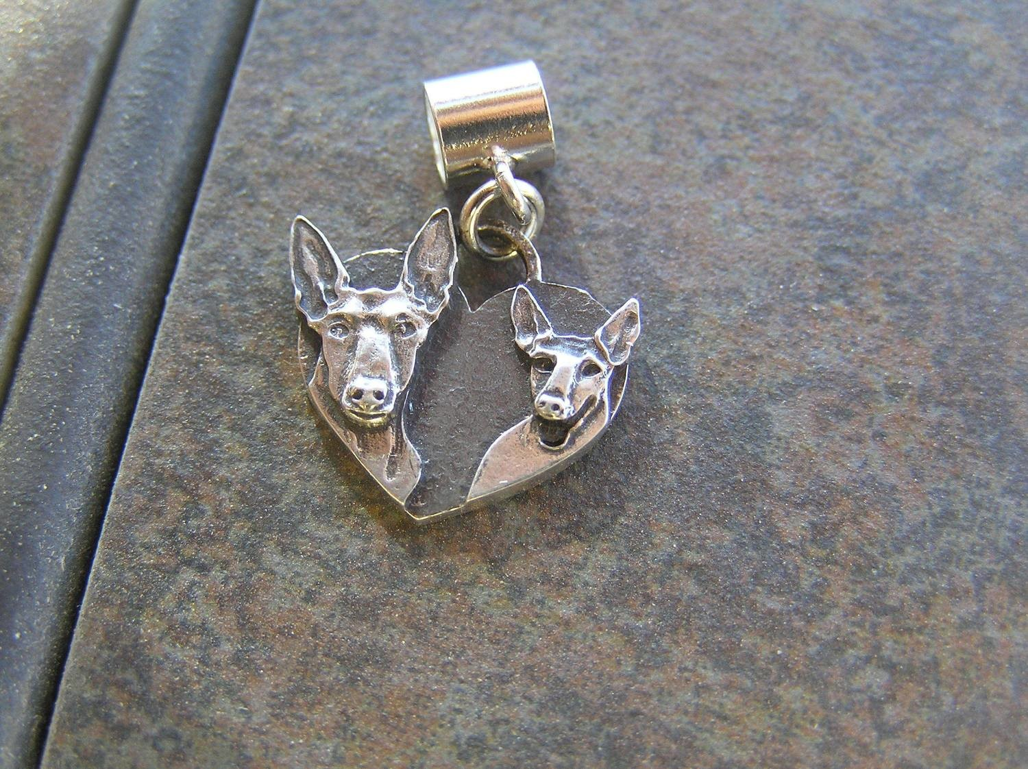 Podenco Heart Sterling SILVER Charm #1