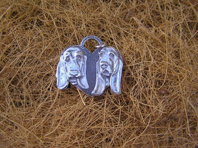 Basset hound heart shaped sterling silver charm