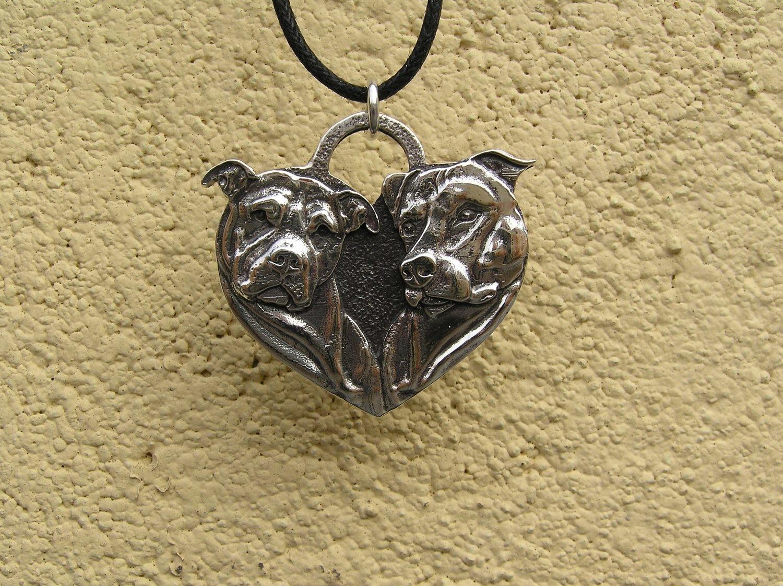 Bull Terrier Heart sterling Silver charm