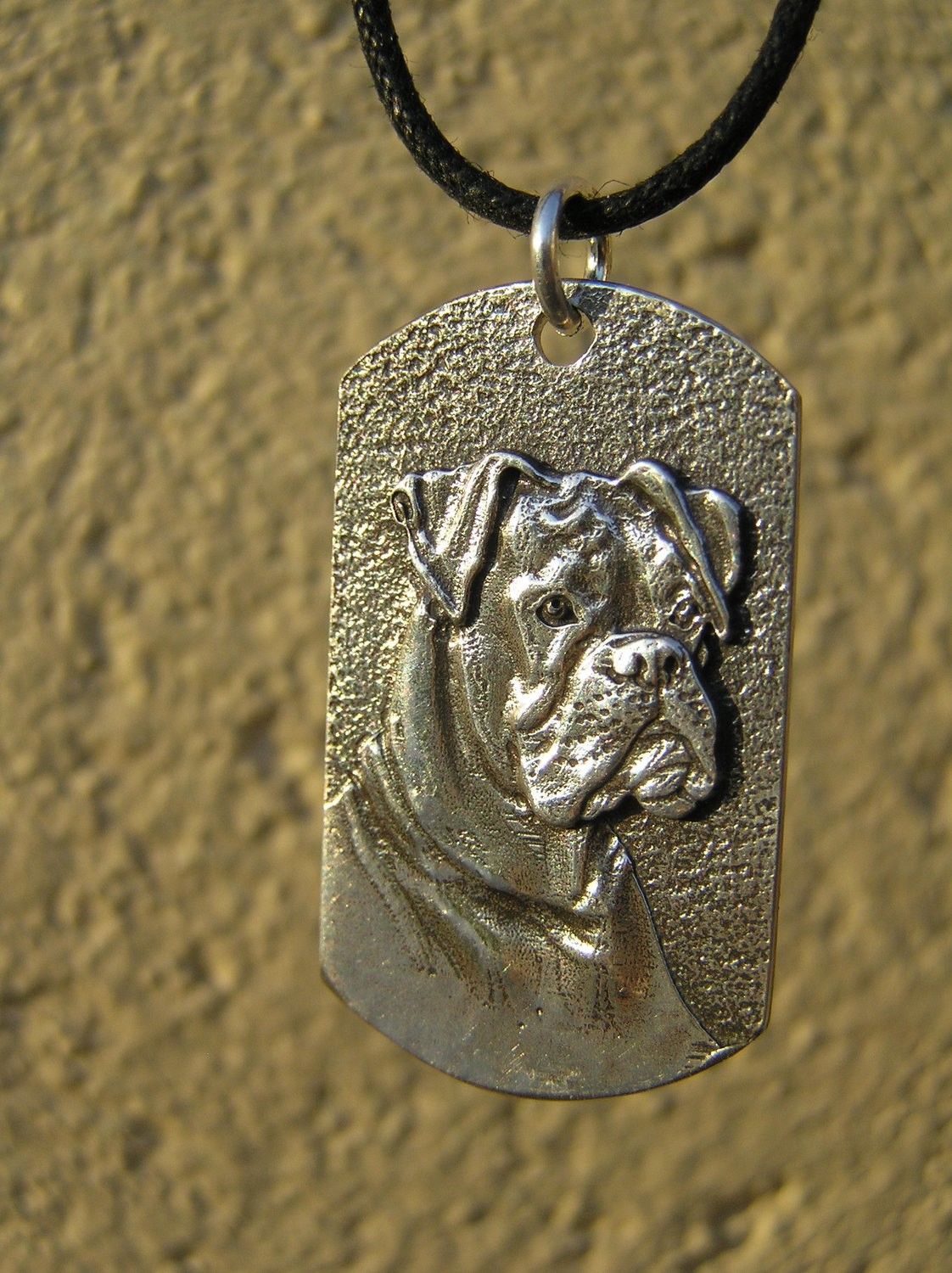Boxer Tag shaped sterling silver pendant