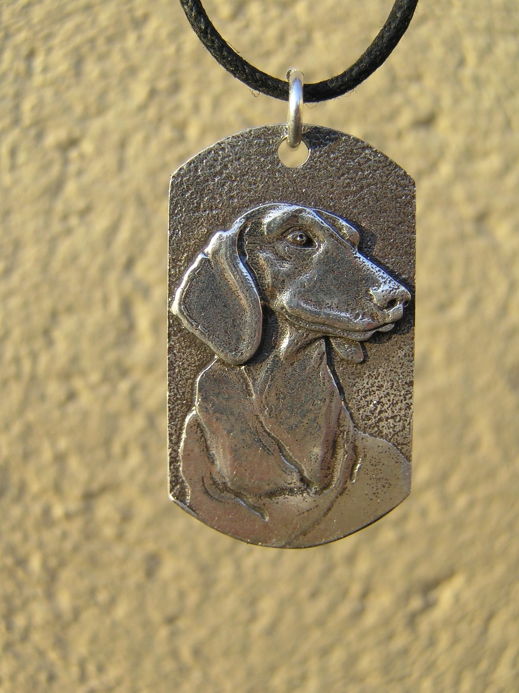 Dachshund tag  sterling silver pendant