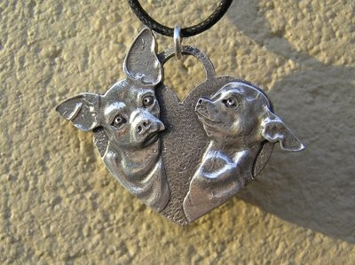 Chihuahua heart shaped sterling silver pendant