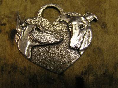 Galgo heart shaped sterling silver pendant