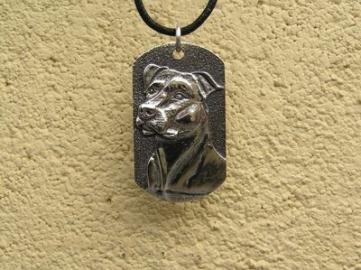 Bull Terrier Dog Tag sterling Silver Pendant