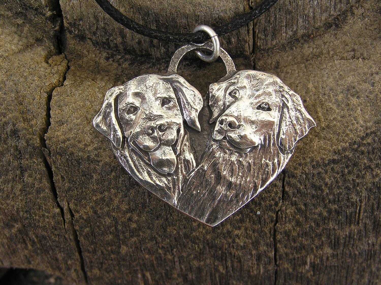 Golden Retriever heart shaped sterling silver charm