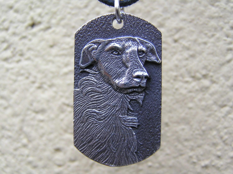 Scottish Deerhound Dog Tag sterling Silver Pendant