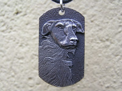 Scottish Deerhound Dog Tag sterling Silver Pendant