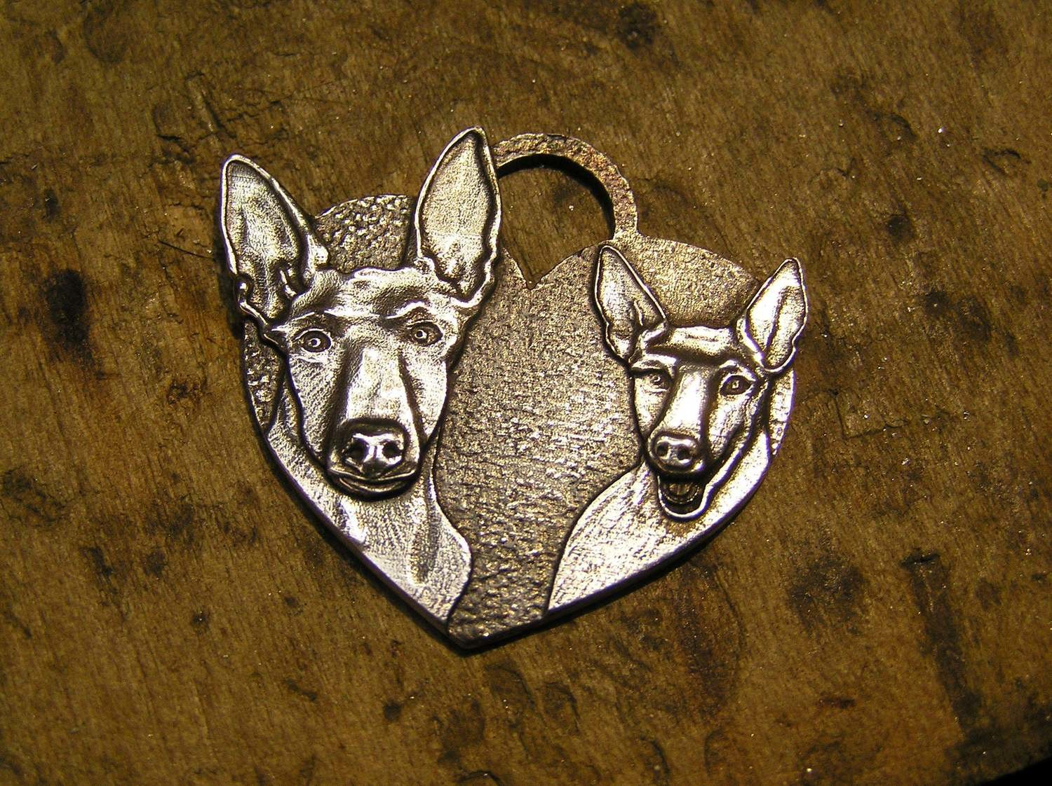 Podenco heart shaped sterling silver pendant