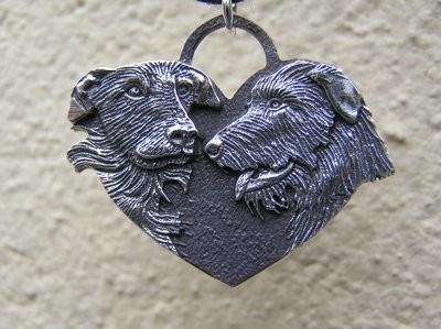Scottish Deerhound  Heart sterling Silver Pendant