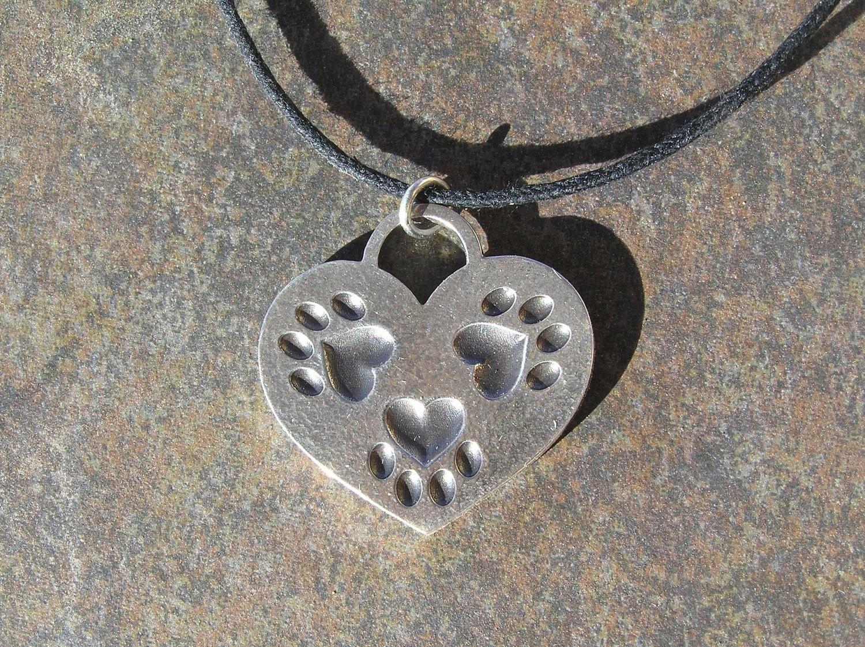 Tripaw Heart sterling silver pendant