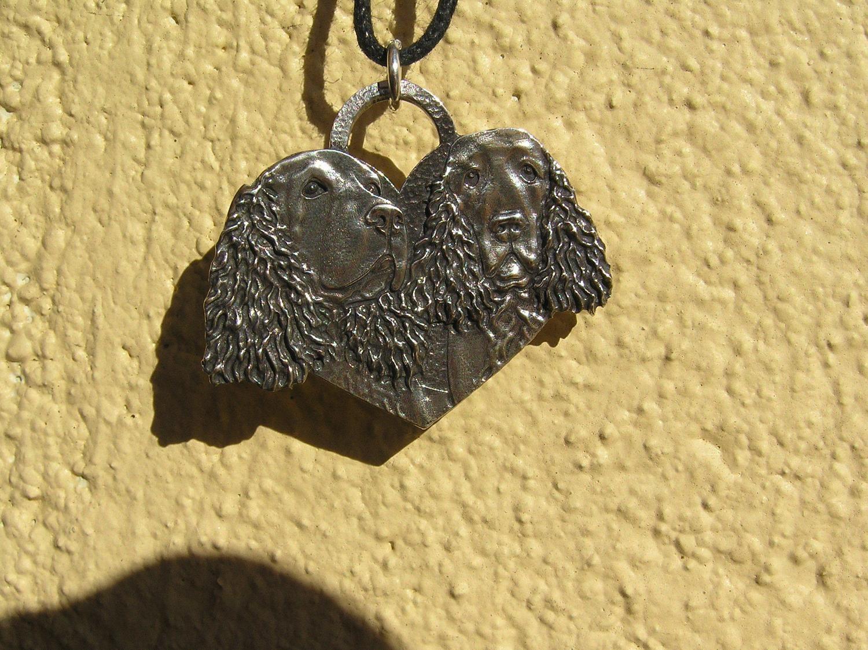 Spaniel heart shaped sterling silver pendant