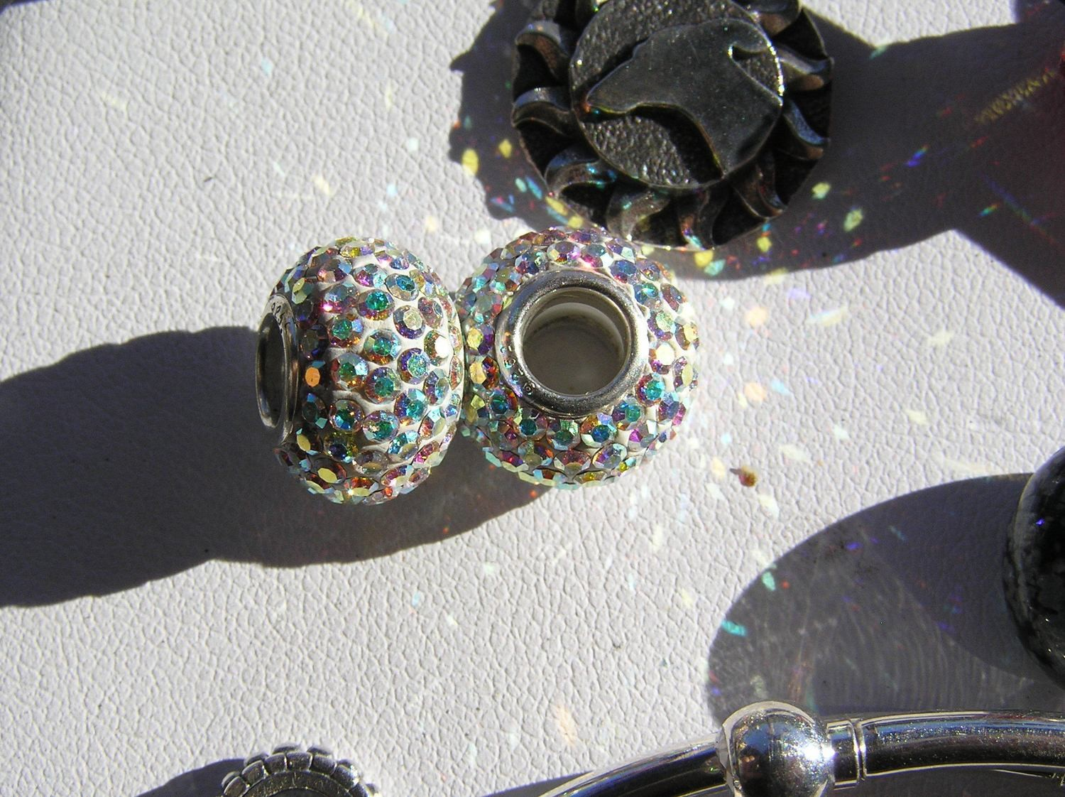 Accent bead set with crystals