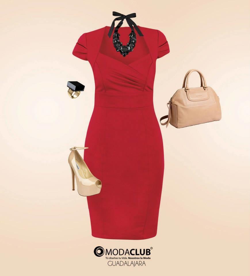 b154c29d14 Vestido rojo entallado
