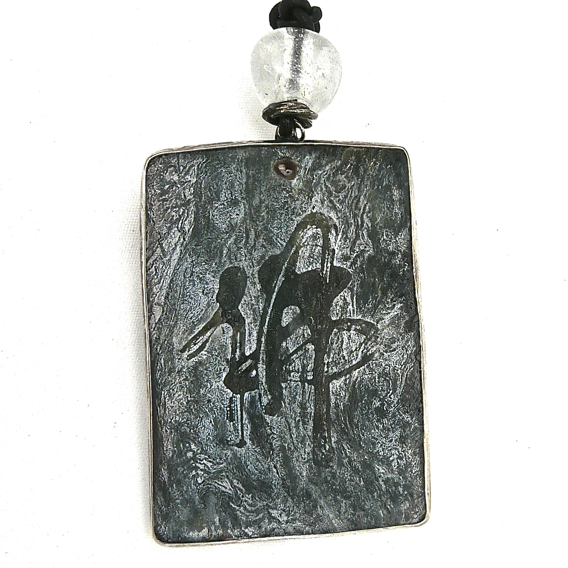 Green etched jade silver fish pendant necklace aloadofball Image collections