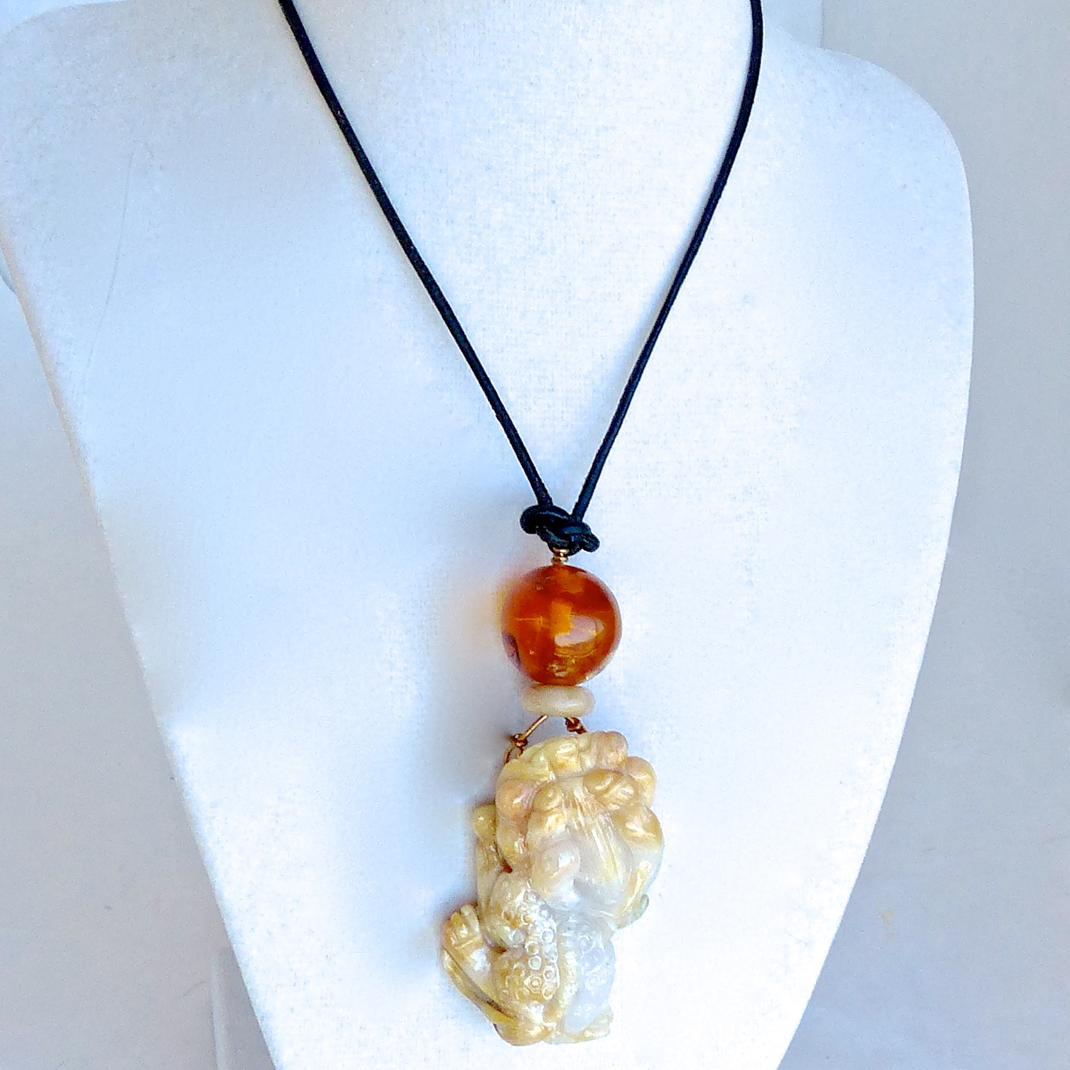 Golden jade dragon baltic amber pendant necklace aloadofball Images