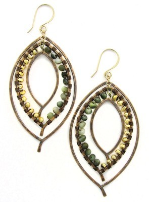 Triple Leaf Earring Wrapped - Bronze