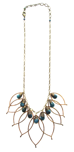 Leaf Cluster Necklace with Stones