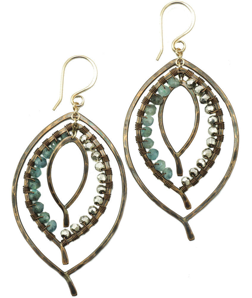 Triple Leaf Earring Wrapped - BZ
